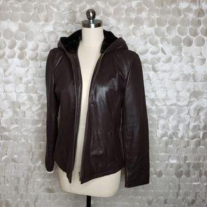 Ann Taylor Brown Leather Hoodie Full zip jacket S